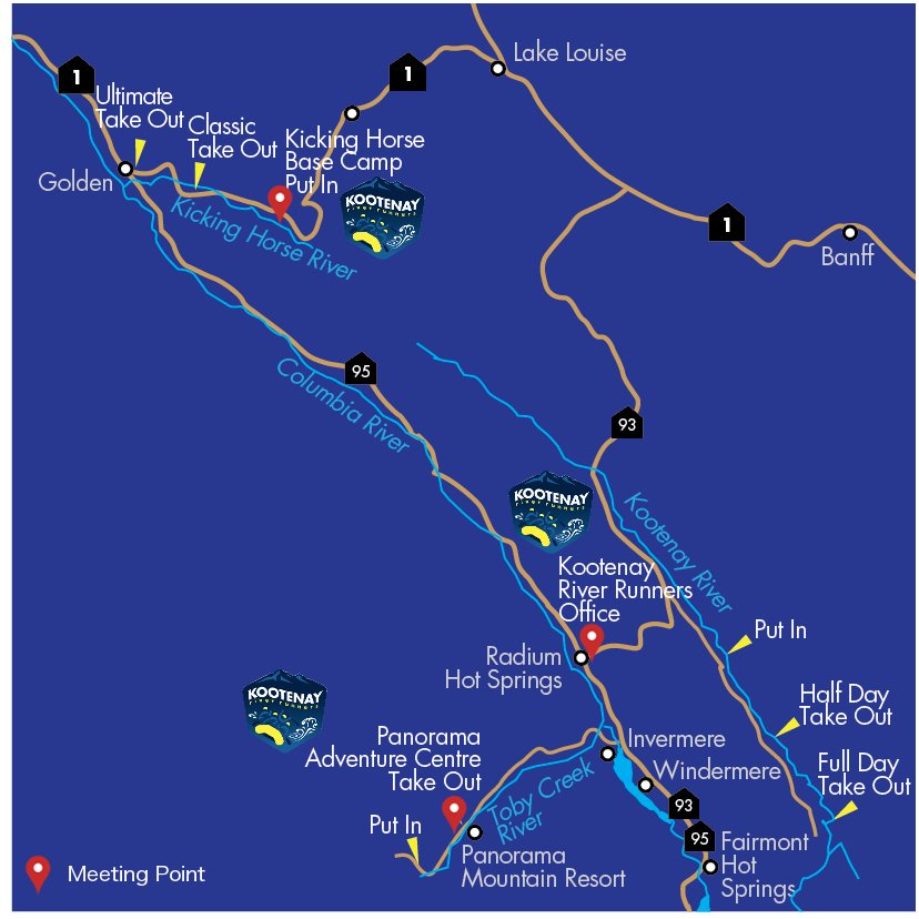 Map of all Kootenay river runners locations
